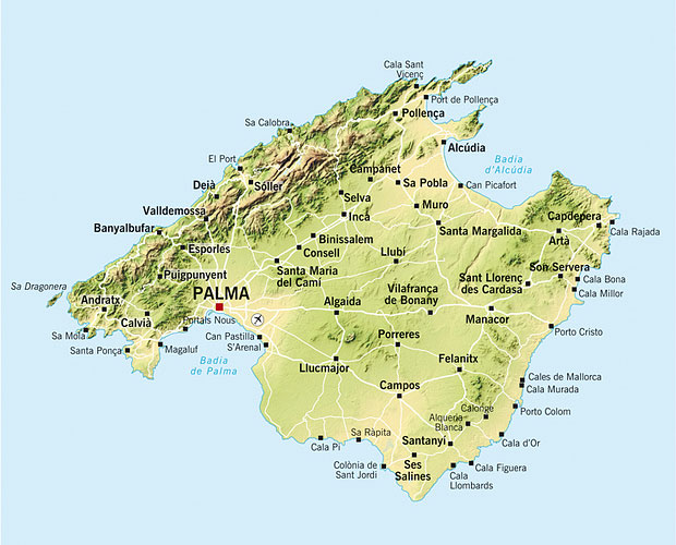 Mallorca Kort Veje Byer Og Bjerge Mallorca